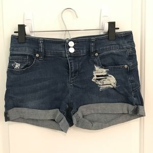 Mid-rise distressed jean shorts